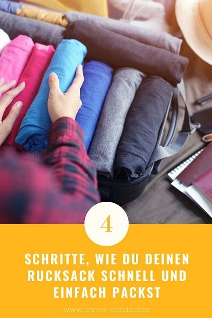 Sobald es Zeit wird zum Packen, hört bei vielen die Vorfreude auf. Denn meist ist es anstrengend und alles andere als lustig. Aber in Wahrheit kann das Packen richtig schnell gehen. Wie? Lies weiter und finde heraus, wie du es schaffst deinen Rucksack in nur 4 Schritten zu packen.  #Backpacking #packen #reisen# Weltreise #Rucksackreise #alleinreisen #alleinereisenalsfrau #Rucksack #Reise
